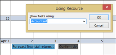 "Screen grab showing the ""Using Resource"" box. ""Accountant"" is the selected option within the ""Show tasks using:"" drop down menu."