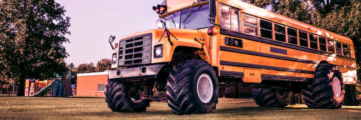 Bus with tractor tires. Budget-friendly training development often benefits from learning and development professionals borrowing tried and true practices from other industries.
