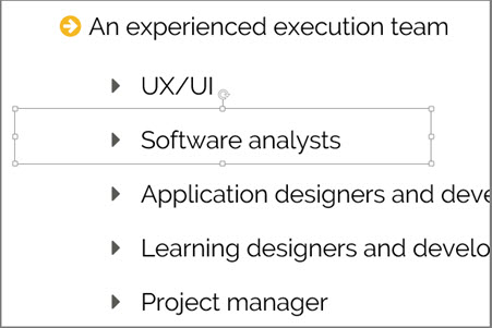 """Screen grab of the words """"Software analysts"""" selected"""