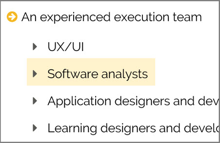 """Software Analysts"" with colored box behind text appears to be highlighted."