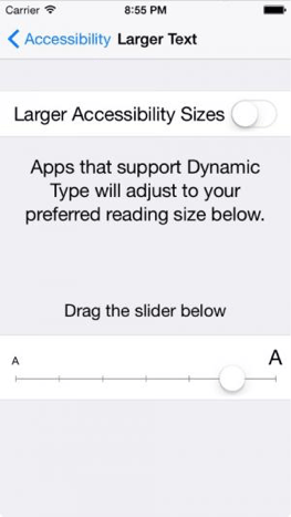 "Accessibility ""Larger Text"" option screen on mobile."