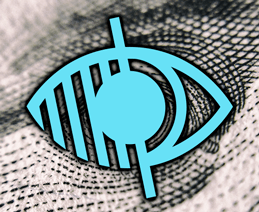 Extreme closeup of currency's Benjamin Franklin's eye with vision icon overlaid