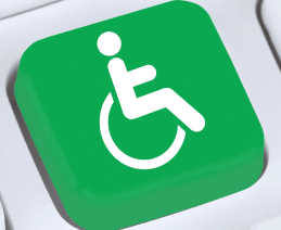 "Green ""Universal Symbol of Access (Wheelchair Symbol)"" key on computer keyboard"