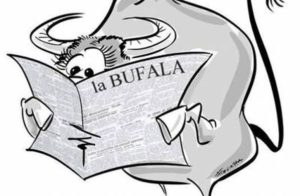 Immagine: vignetta satirica di una bufala (animale), rappresentante le fake news.