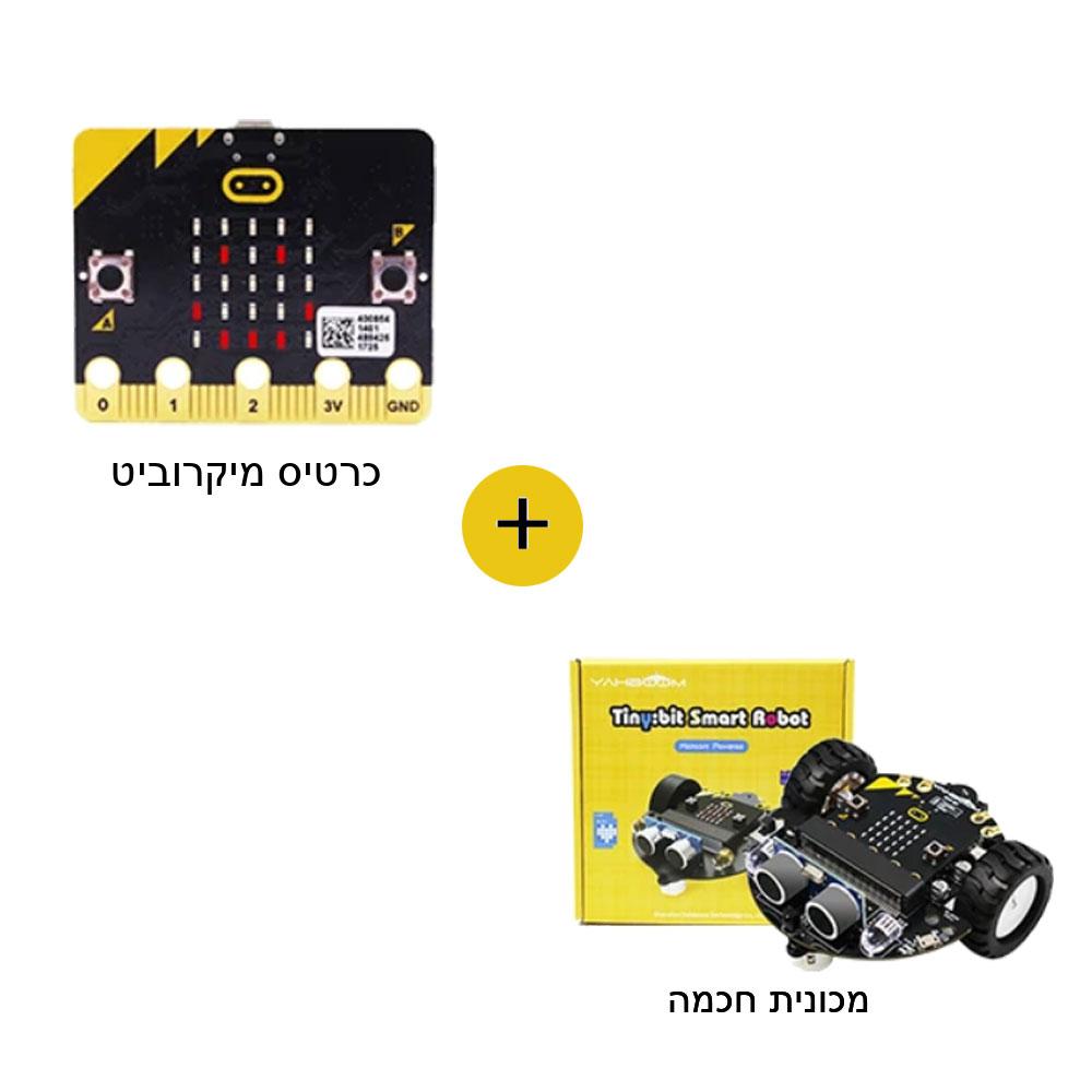 כרטיס מיקרוביט ומכונית רובוטית