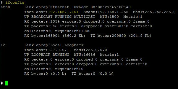 SSH kapcsolat - Raspbian - Ifconfig