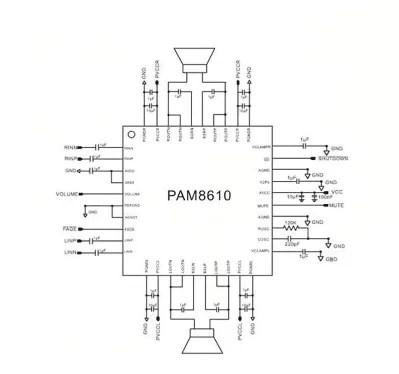 PAM8610 - D osztályú erősítő
