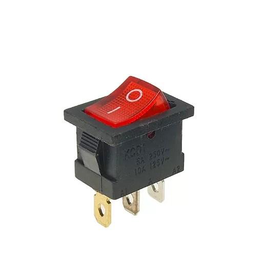 2 állású világító kapcsoló - Piros