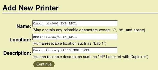 Add New Printer Page