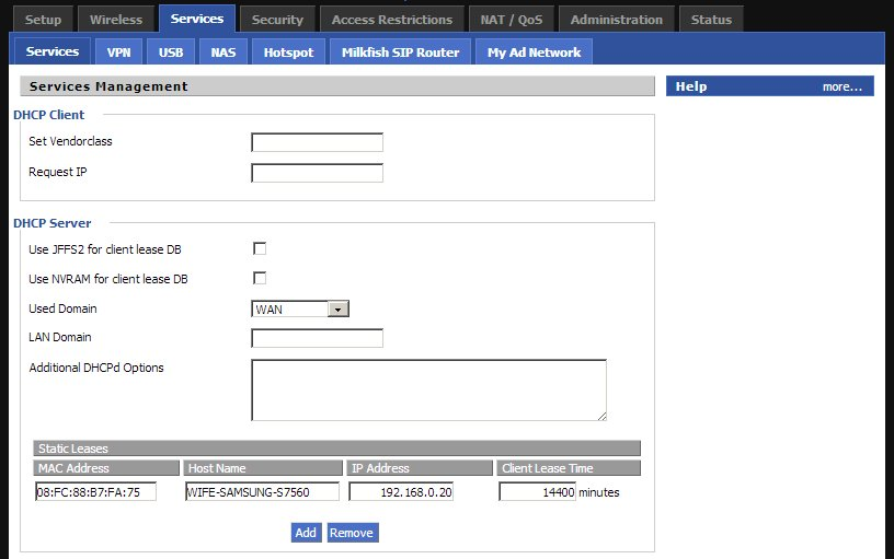 DD WRT DHCP Static IP WIFI Services Panel