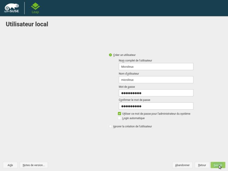 Installation OpenSUSE Leap 15.0 KDE