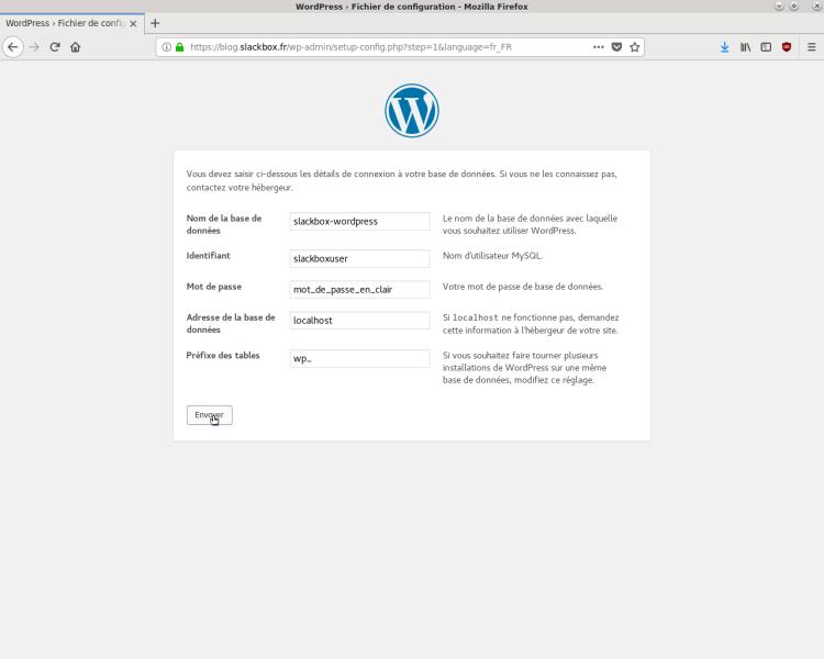 Configuration WordPress
