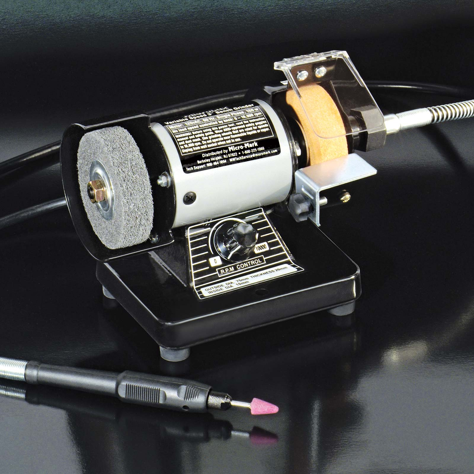 Miniature Bench Grinder With Flex Shaft Attachment