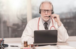 A physician is featured providing a teleahealth virtual visit