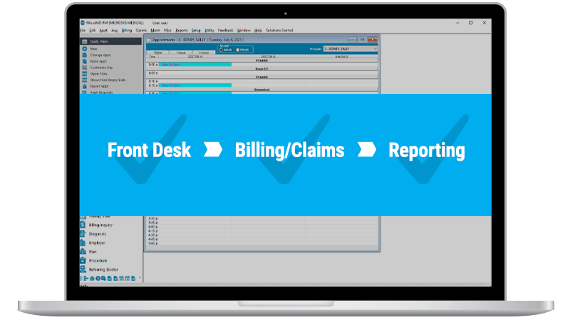 Front desk, billing, claims, and reporting displayed on top of a MicroMD PM window on a laptop.