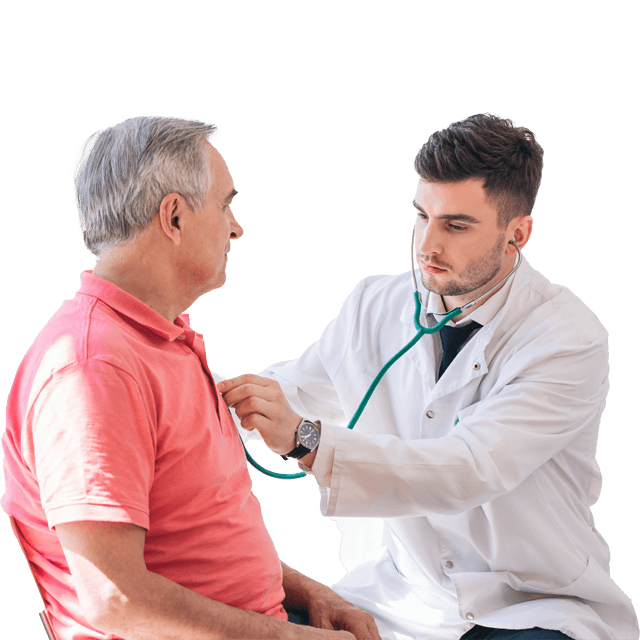 Cardiologist listening to patient's heart