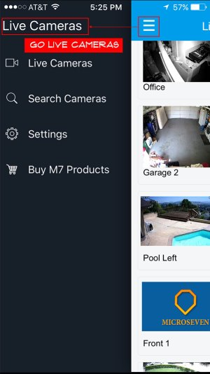 Tap on menu and go to Live Cameras