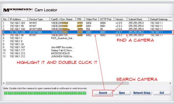 find a camera in cam locator