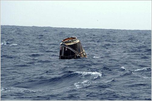 La Dragon C2 a la espera de ser recogida - SpaceX