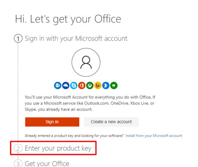 Enter Product key for setup office