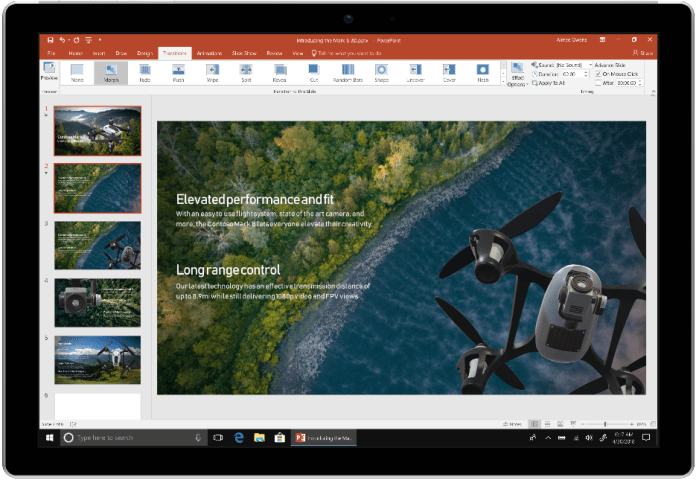 An image shows a device using PowerPoint in Office 2019.