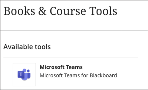 Image showing Microsoft Teams for Blackboard as an available tool in Microsoft Teams.