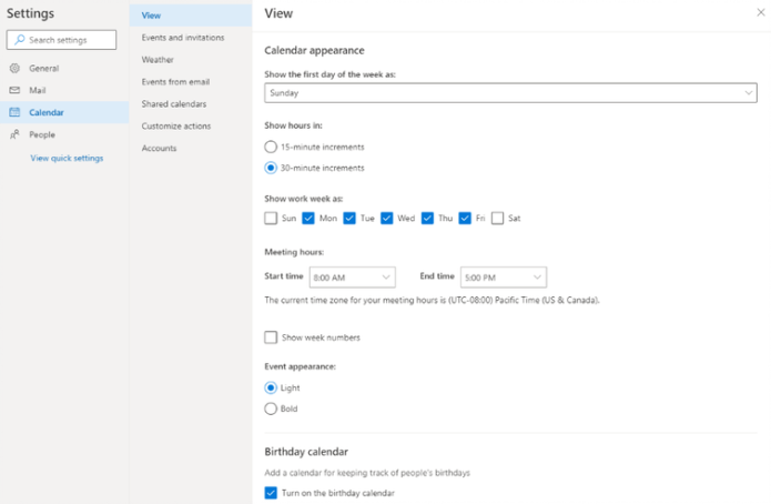 An image of Calendar Settings, update your meeting hours so coworkers know when you are available
