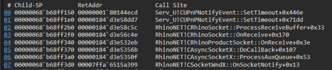 Screenshot of code showing call stack resulting from break point
