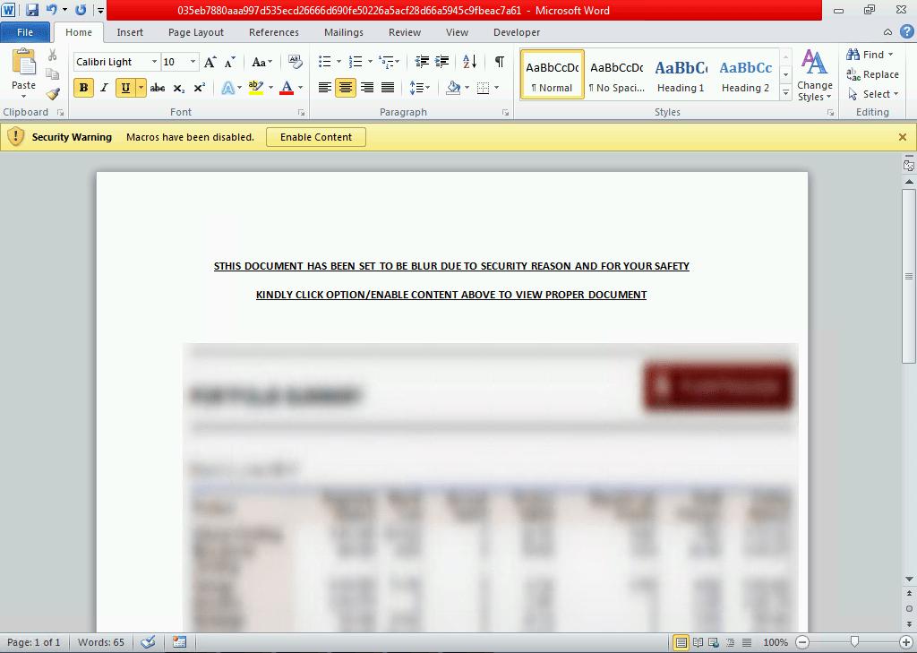 tax-related phishing document with malicious macro code