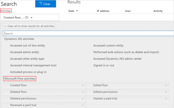 Screenshot of Microsoft Flow activities accessed through the Office 365 Security & Compliance Center.