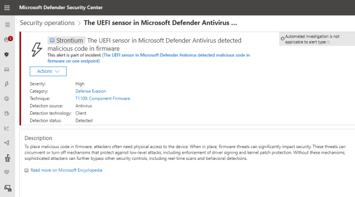 Screenshot of Microsoft Defender ATP alert for detection of malicious code in firmware