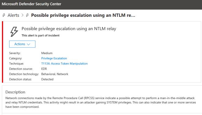 An image ofMicrosoft Defender ATP alert of detected escalation of privilege attempt.