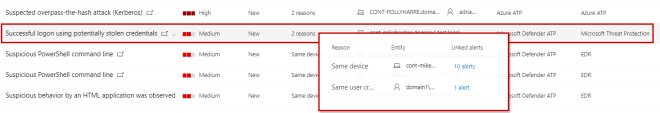 """Screenshot of Microsoft security center showing list of alerts and highlighting the correlation-driven alert """"Successful logon using potentially stolen credentials"""""""