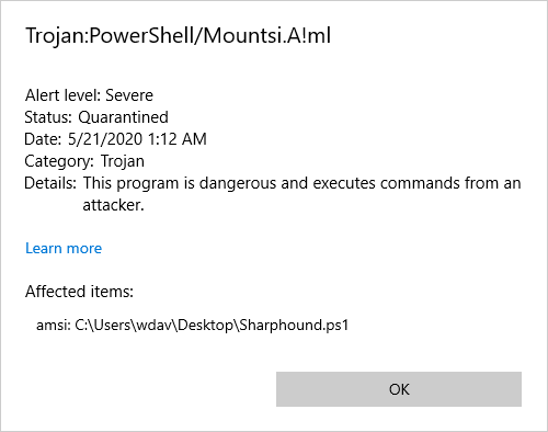Screenshot of Microsoft Defender Antivirus alert for detection of SharpHound