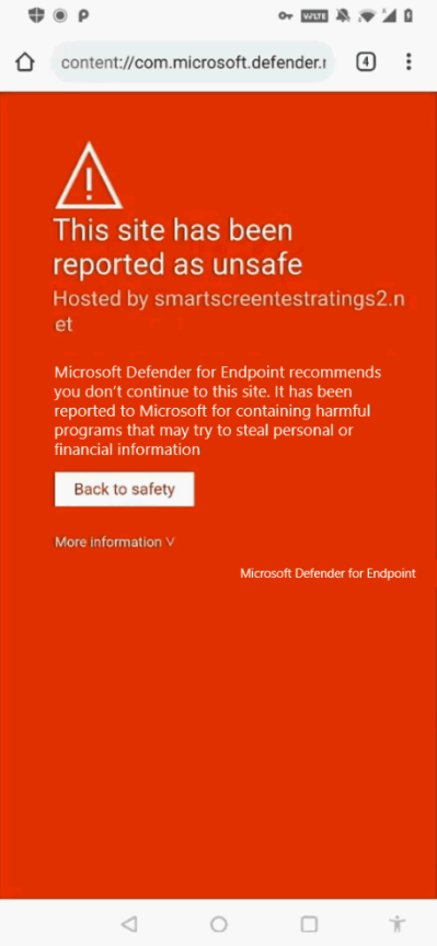 An image of Microsoft Defender for Endpoint on an Android device.
