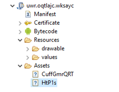 Screenshot of Assets folder with encrypted executable code