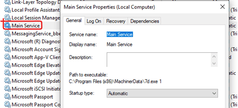Screenshot the service added by the malware