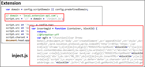 Screenshot of additional downloaded script