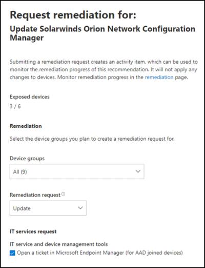 Screenshot of threat and vulnerability management remediation options