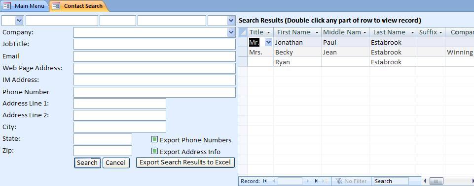 resume contact database