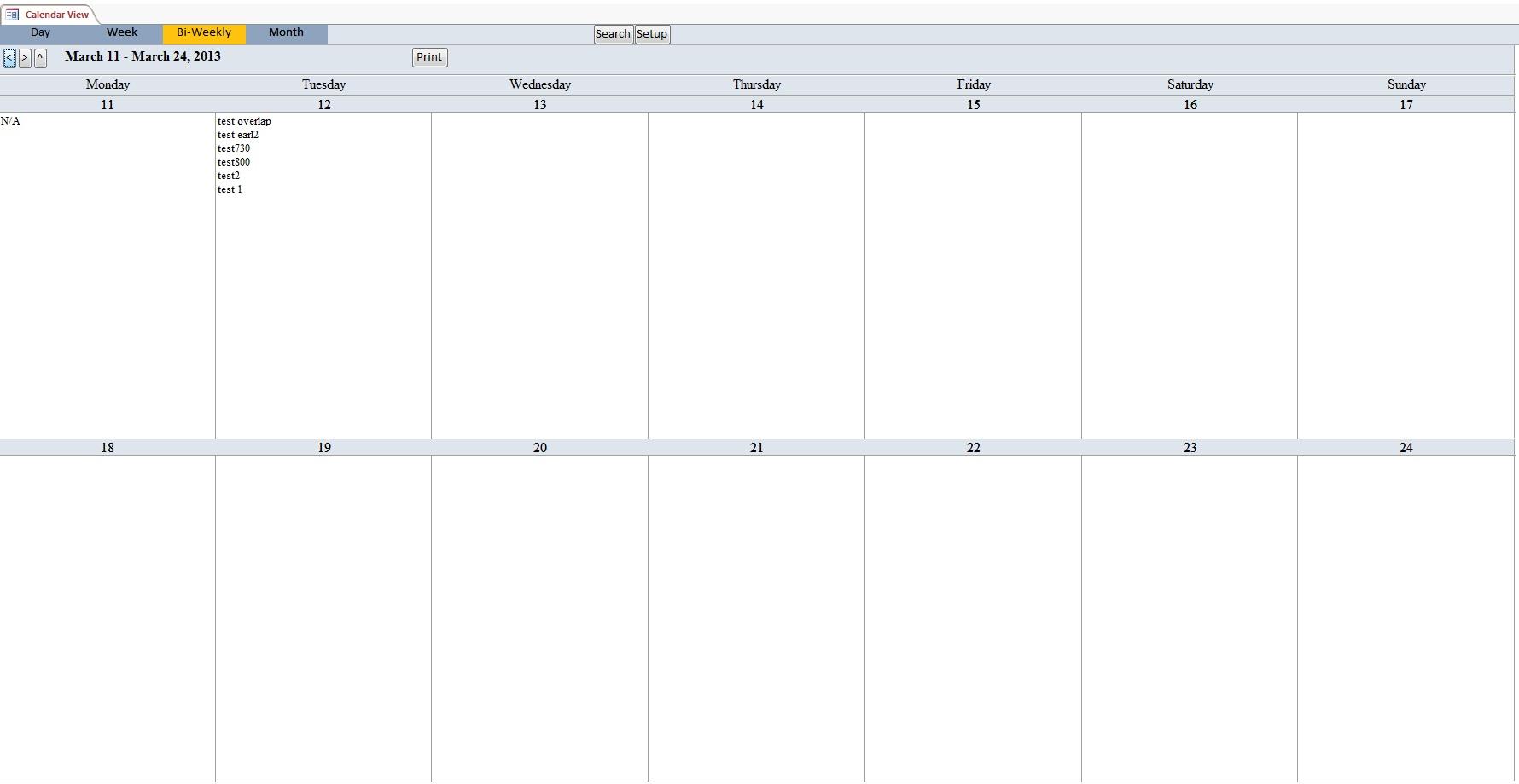 Calendar Scheduling Database Template