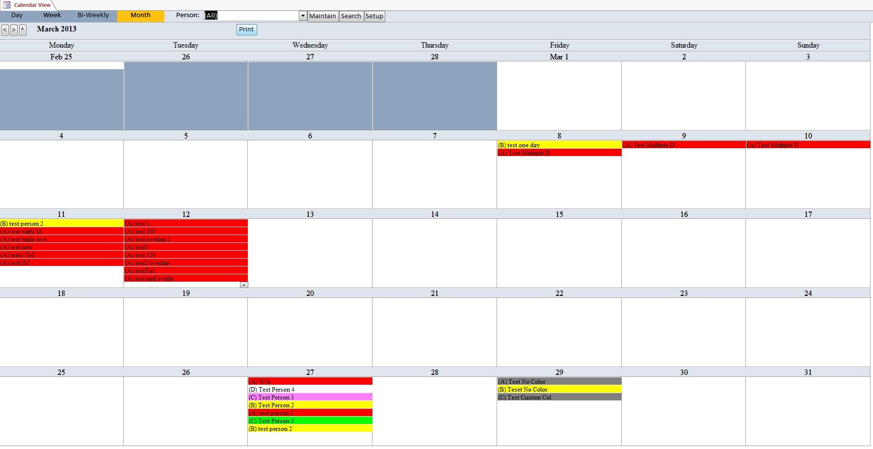 School Calendar Scheduling Template