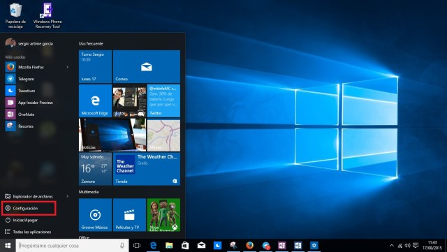 Opción de configuración en Windows 10