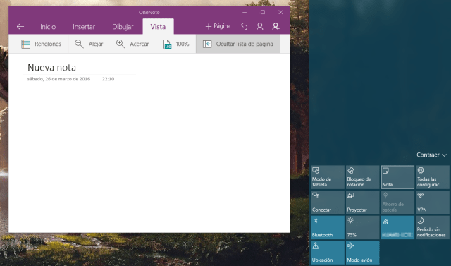 OneNote Action Center