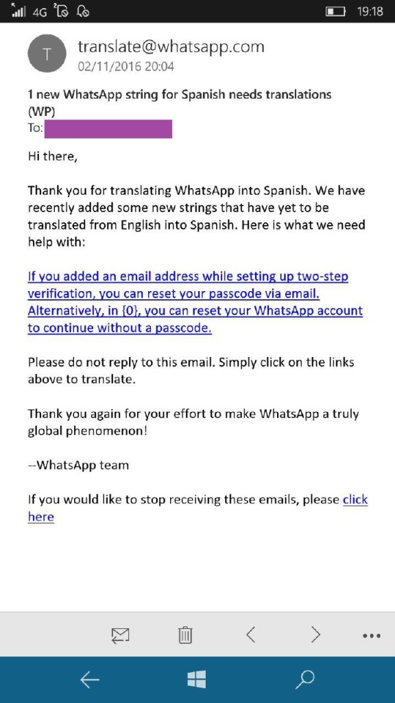 Traducción de la app de Windows Phone