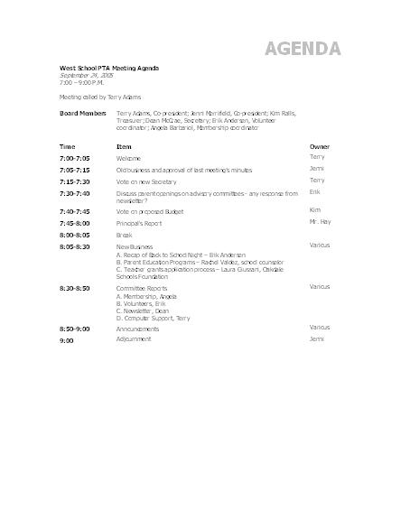 Doc529684 Sample Meeting Agenda Outline Free Meeting Agenda – Agenda Outline