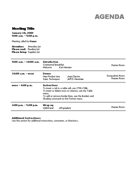 Doc529684 Sample Agenda Format for Meeting Free Meeting – Word Agenda Template Free Download