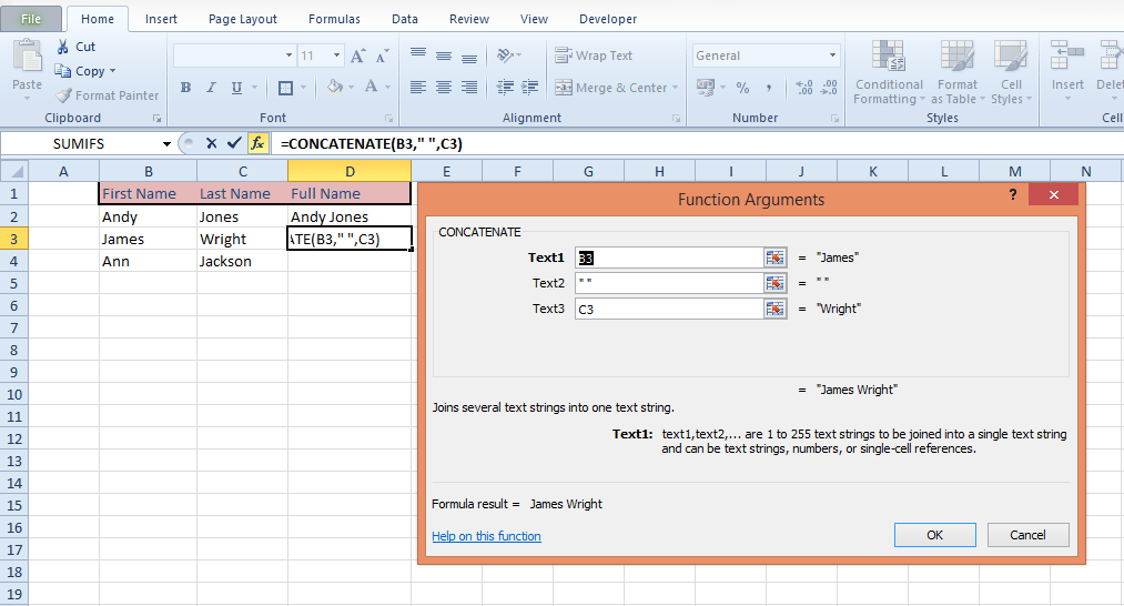 how to add two seperate cells excel