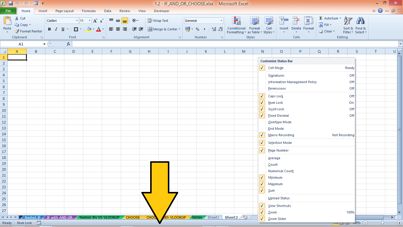 The Excel Status Bar